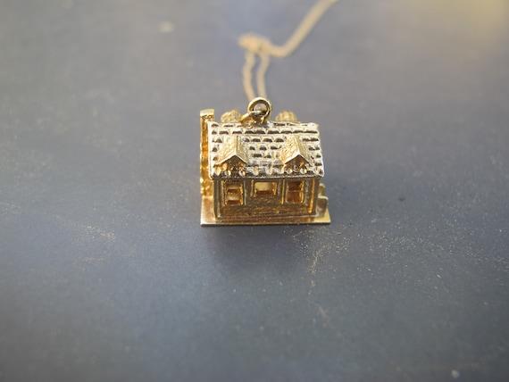 Vintage 14k Yellow Gold Mid Century House Charm P… - image 4