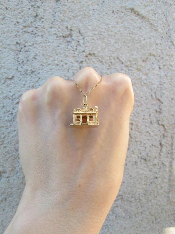 Vintage 14k Yellow Gold Mid Century House Charm P… - image 1