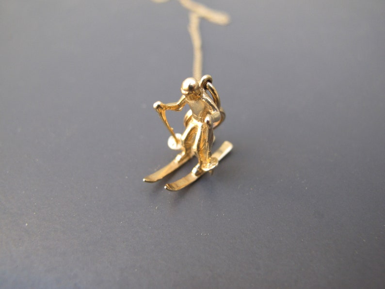 Vintage 14k Yellow Gold Skiier Skiing Charm Pendant