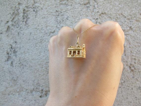Vintage 14k Yellow Gold Mid Century House Charm P… - image 2