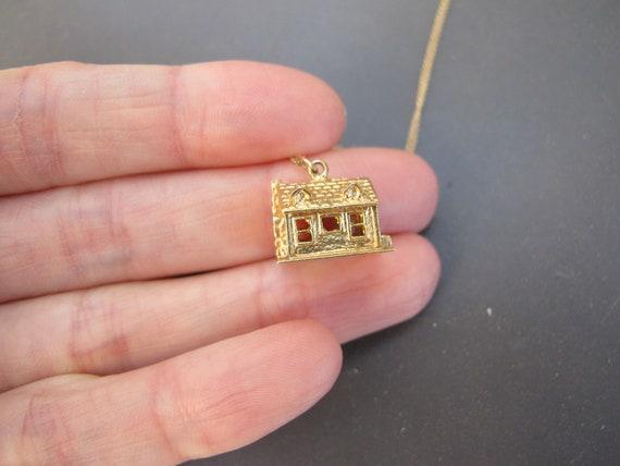 Vintage 14k Yellow Gold Mid Century House Charm P… - image 7