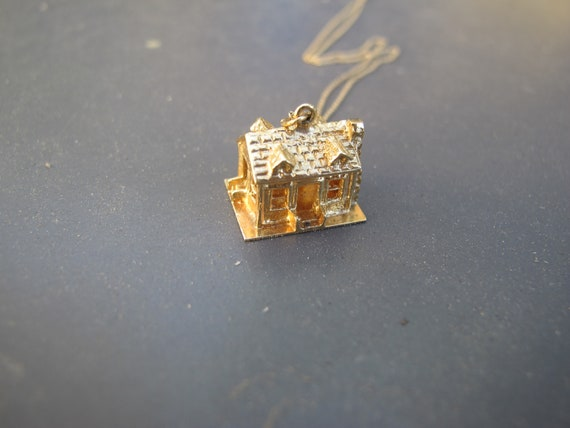 Vintage 14k Yellow Gold Mid Century House Charm P… - image 3