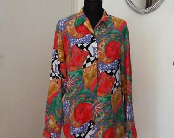 Vintage Women's Blouse Bright Milticolour Size 38 M, 1980s