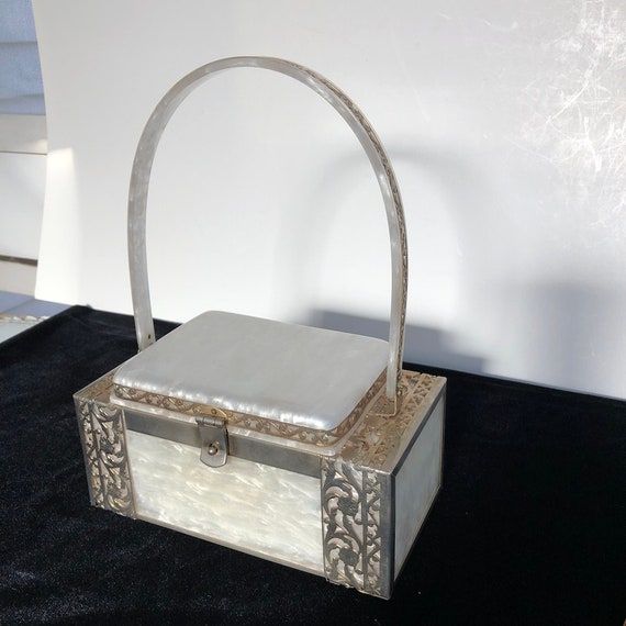 Vintage Tyrolean Lucite Pearlescent White Box Hand