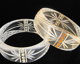 Beutiful Pair of lucite bangle/ bracelets