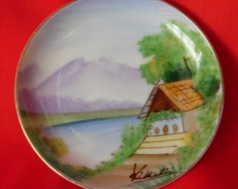 Vintage Japan Scenic Hand Painted Plate - Artist Signed circa 1940 to 1950
