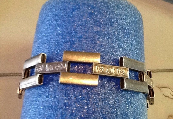 Mid century modern geometric link bracelet sterli… - image 2