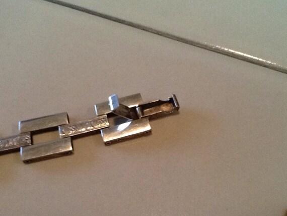Mid century modern geometric link bracelet sterli… - image 4