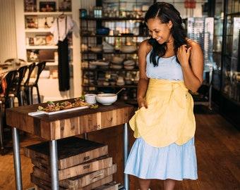 Women's Apron, Stylish Apron, Kitchen Apron, Waist Apron Yellow Apron