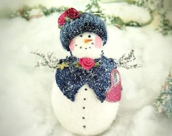 "Fleece Snow Lady Ornament 5"" Handmade Snowman Icicle Navy Blue Knit Cape and Hat Christmas Handmade CharlotteStyle Decorative Folk Art"