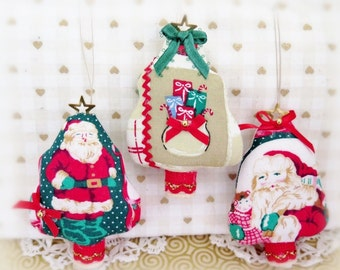 "Fabric Tree Ornaments, Set of  3 Christmas 3"" Tree Onaments Holiday Bowl Fillers Primitive Favors Decorations CharlotteStyle Home Decor"