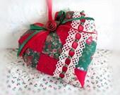Christmas Heart Ornament, Heart Door Hanger, Patchwork Print, Christmas Decoration, Handmade CharlotteStyle Decorative Folk Art