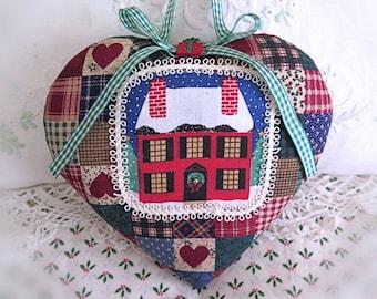 "Christmas Ornament 7"" Heart Ornament Door Hanger Pillow, Cottage Chic Cloth Handmade CharlotteStyle Decorative Folk Art"