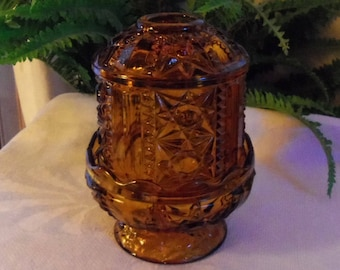 Fairy Lamp Amber Glass Fairy Lamp Indiana Glass Stars and Bars Votive Candle Holder