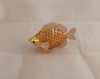 Fish Enamel Jeweled Trinket Jewelry Box