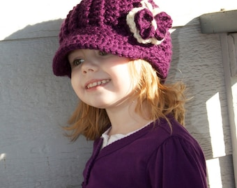 c8726136ad0 Oli J Beanie with Brim   Attached Crochet Butterfly Newborn Infant Toddler  Child
