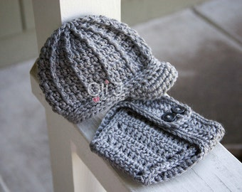 Ready-to-Ship Boy's Brimmed Beanie and Diaper Cover Photo Prop Set - Light Grey Newborn size