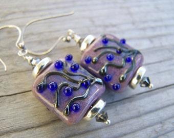 Silver Lampwork Earrings Purple Blue Berries