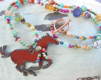 Rustic Southwestern Style Horse Necklace Cowgirl Gemstones