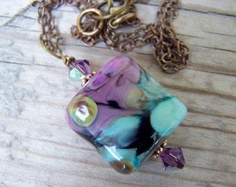 Lampwork Swarovski Brass Purple Blue Necklace