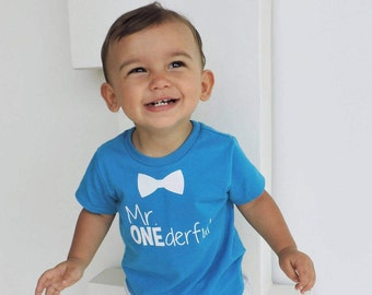 Bowtie - Mr ONEderful  - 1st Birthday shirt - Front and Back design - Name on back - first birthday - 1 year old - Mr Wonderful - onederful