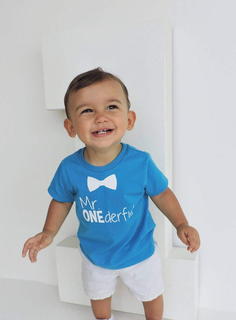 Bowtie Mr ONEderful 1st Birthday Shirt Boy Front And