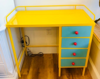1950's Yellow and Turquoise Re-cycled Vintage steel desk by BMC Vintage Design, Home decor, home office, Alice in Wonderland Party