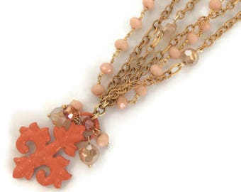 Orange Fleur de lis necklace, 18kt vermeil multi chain gold plated over sterling with coral and Czech crystals, Artisan made in the USA