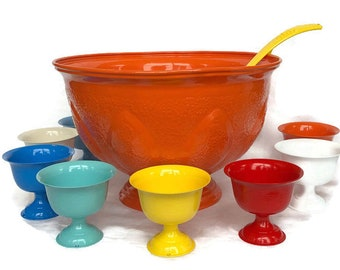 Large Punchbowl Festive party colors, Vintage Silver plate resurfaced by BMC Vintage Design Studio FOOD SAFE, serving bowls, party table