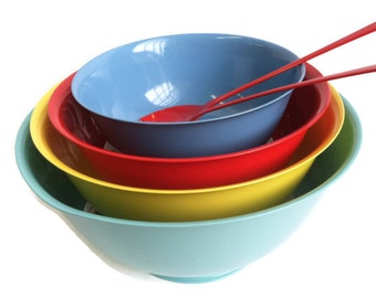 Custom order Mid century Silver plated Revere bowls multi colored- upcycled tabletop by BMC Vintage Design Studio, fired on colors!