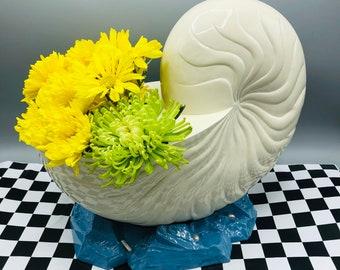 Large Shell vase on pearl scattered French blue base, Vintage silver plate resurfaced by BMc Vintage Design, wedding centerpiece vase