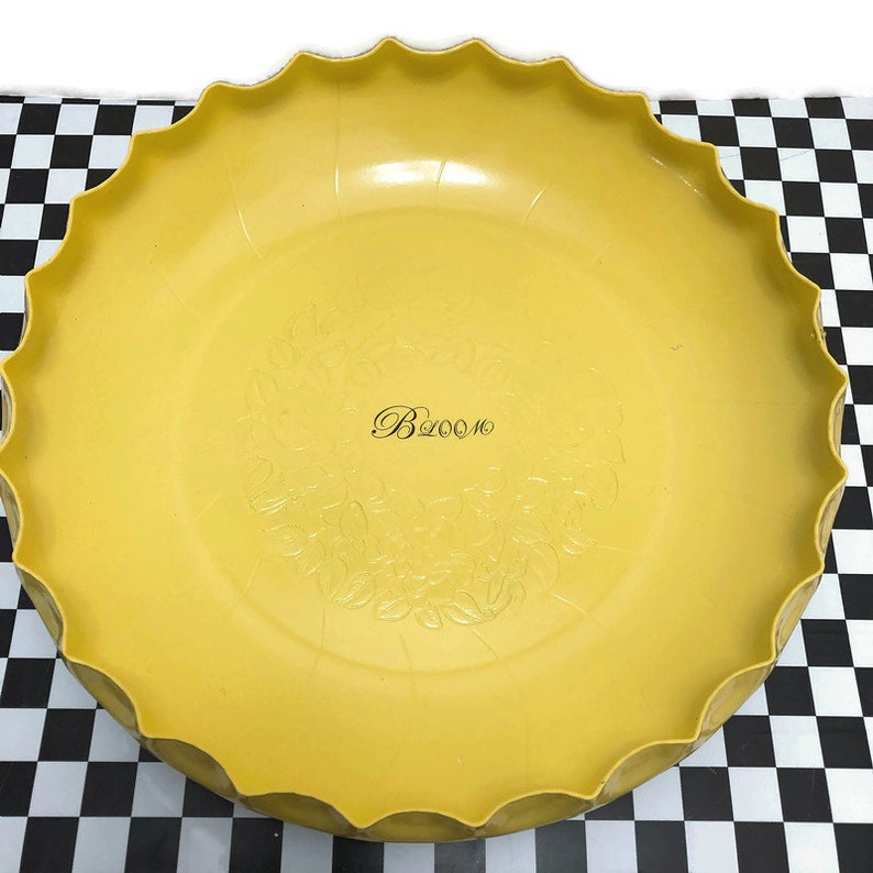 FOOD Safe! Large 13 yellow BLOOM bowl with Orange salad servers bowl is vintage Hammered aluminum up-cycled by BMC Vintage Design Studio