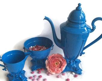 Upcycled Silverplated Tea set cobalt blue antique 1870's, spring wedding something blue, fired on enamel, Victoriana, Alice in Wonderland