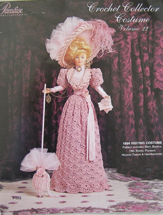 1890 Travelling Clothes For Barbie Paradise Publications P-025 Crochet Collector Costume Volume 14 or Other 11 12 Inch Fashion Doll