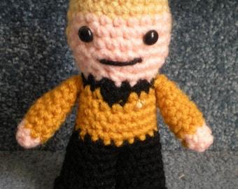 Made to order, Hand crocheted Captain Kirk Star Trek  Amigurumi Doll