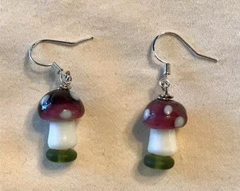 Lampwork Glass Purple Cap Mushroom Beaded Pierced Earrings Native American Made Handmade by Hidden Bear