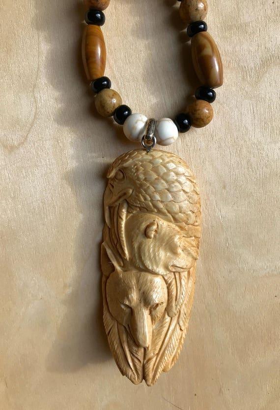 Carved Bone Totem Feathers Eagle Bear Wolf Beaded Pendant Etsy
