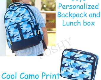 99c6cb33689b Boys Backpack  Personalized Kids Backpack  Monogrammed Backpack Kids Lunch  Box  Kids Backpack  Back to School  Cool Camo
