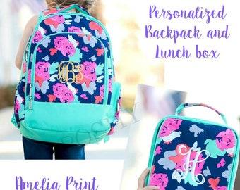 a8ec3a3d5f8f Kids Backpack   Monogrammed Kids backpack Girls Backpack Kids Lunch Box   Personalized Kids backpack  Amelia Print
