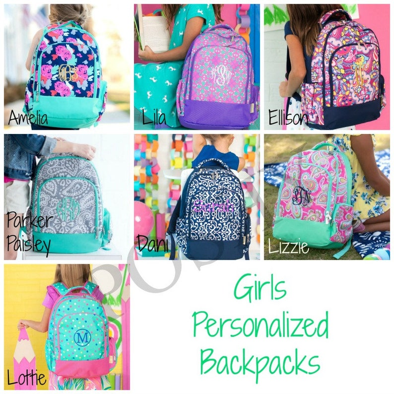 Monogrammed Kids Backpack Personalized Backpack Back to image 0