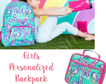 Kids Backpack / Monogrammed Kids backpack/Girls Backpack/Kids Lunch Box/ Personalized Kids backpack/Butterfly Kisses