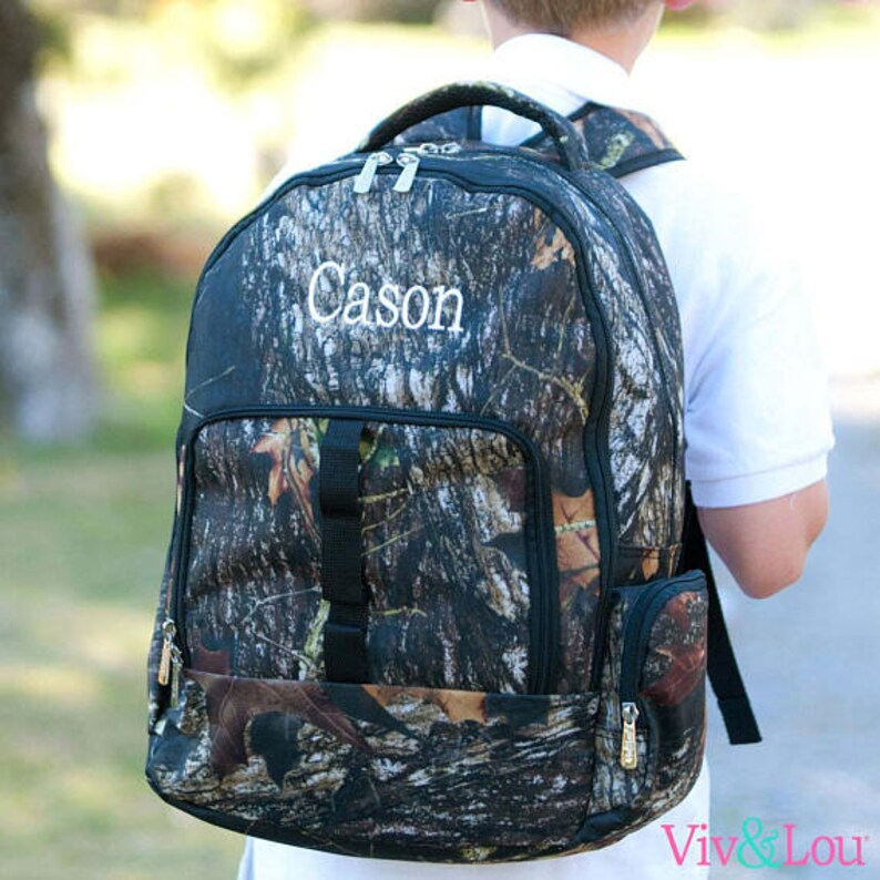 Personalized Kids Backpacks in Woods Camo print LARGE size monogram