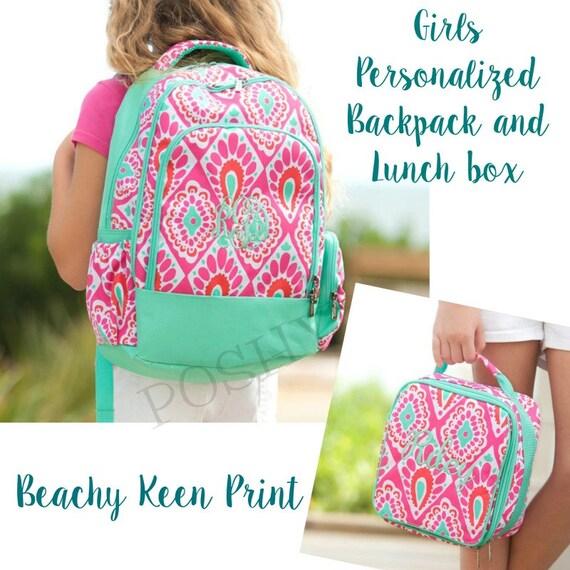Sac à dos pour enfants / Kids monogrammé sac à dos/Girls sac à dos/boîte à Lunch pour enfants / sac à dos enfant personnalisé / Beachy vif