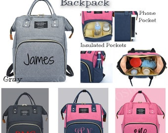 Diaper Bag, Nappy, Baby Bag, Backpack, Personalized, Name, Monogram, Baby Shower Gift