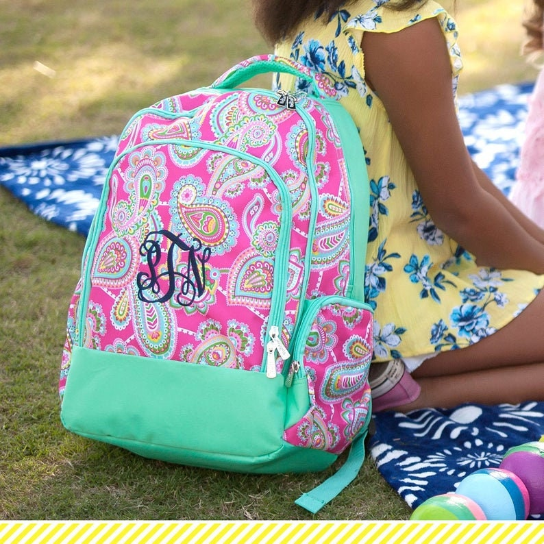 Kids Backpack  Monogrammed Kids backpackGirls BackpackKids Lunch Box Personalized Kids backpack Lizzie Print
