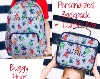 Boys Backpack/ Personalized Kids Backpack/Boys Lunch Box/ Monogrammed Backpack/  Kids Backpack/Kids Lunch Box/ Back to School/ Buggy