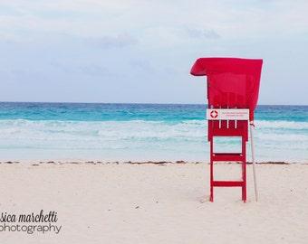 Ocean photograph, nature photography, beach decor, shabby chic decor, teal turquoise wall art, beach art, ocean decor, lifeguard print