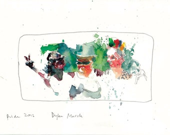 SF Pride, Dyke March, location drawings, 2 signed prints