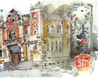 Wels; old Sparkasse; Maria-Theresien highrise; watercolor; 14x11inch