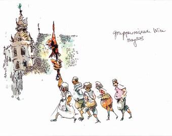 Vienna Stephansplatz guided tour signed print